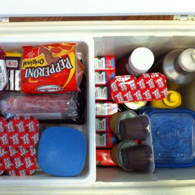 Cooler with Food & Drinks